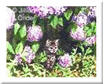 A Tiger In The Woods kitten cat tabby original watercolor art miniature hydrangeas
