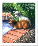 original watercolor miniature kittens cats garden pond dollhouse