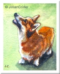 original miniature watercolor dollhouse 1:12 scale Welsh Corgi dog