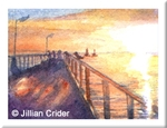 seascape jetty ocean sunset Semaphore original watercolor painting dollhouse miniature 1:12 scale