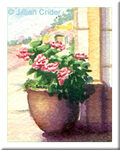 original miniature watercolor painting geranium pot garden dollhouse