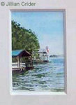 Lake Lanier Georgia boathouse original dollhouse miniature parinting watercolor artistjillian