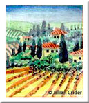 """Tuscan Hamlet"" original miniature dollhouse watercolor and ink vista landscape"