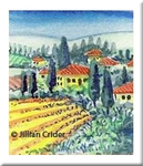 Tuscan Sunshine vineyards Tuscany miniature painting art watercolor ink