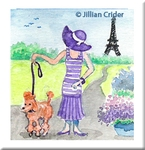 Poodle Prominate Paris French original miniature painting watercolor 1920s girl flapper fashion
